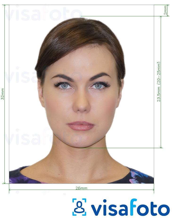 Ejemplo de foto para Foto carnet para DNI de España 32x26 mm con la especificación del tamaño exacto